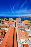 Sunny summer day above old town of Zadar. Panoramic view from height Stock Photography