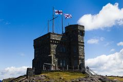 Cabot Tower on Signal Hill in St. John`s Newfoundland and Labrador Canada stock images