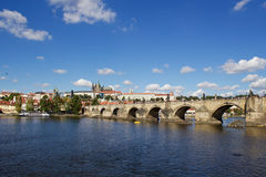 Sunny summer day in the center of Prague. City cenre with a view to the Prague castle over the Vltava river Royalty Free Stock Photos