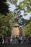 Sunny summer day in the city Park. Monument to Peter the First. Royalty Free Stock Images