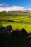 Sunny summer day at golf course in Akureyri Stock Photography