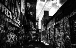 Sunny summer day in the Graffiti Alley, Baltimore, Maryland. Royalty Free Stock Photography