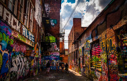 Sunny summer day in the Graffiti Alley, Baltimore, Maryland. Royalty Free Stock Photos
