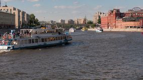 Sunny summer day moscow river bay kremlin Timelaps stock footage