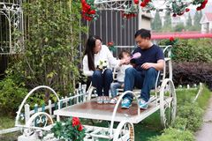 Happy family parental activity mother father daughter hand in hand play and have fun outdoor in summer park child parent love girl. In sunny summer day, partents stock photo