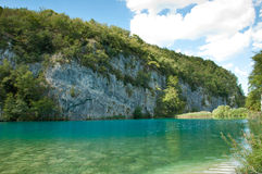Sunny summer day at Plitvice lakes in Croatia Royalty Free Stock Image