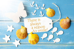 Sunny Summer Greeting Card With Quote Always Reason To Smile Royalty Free Stock Image