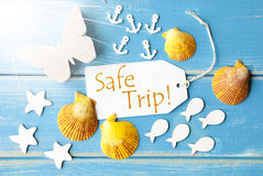 Sunny Summer Greeting Card With Text Safe Trip Stock Images