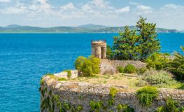 A sunny summer landscape near Porto Ercole, in Monte Argentario, in the Tuscany region of Italy. stock image