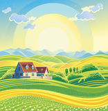 Sunny summer landscape vector illustration
