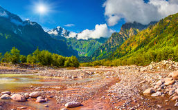 Sunny summer morning in Caucasus mountains Royalty Free Stock Photo