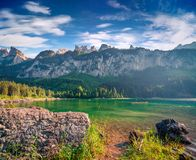 Sunny summer morning on the Gosau Lake Vorderer Gosausee. Colorful outdoor scene in Upper Austrian Alps, Salzkammergut region, Austria, Europe Stock Image