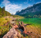 Sunny summer morning on the Gosau Lake Vorderer Gosausee with. View of Hoher Dachstein and Gosau glacier. Colorful outdoor scene in Upper Austrian Alps Royalty Free Stock Image