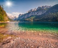 Sunny summer morning on the Gosau Lake Vorderer Gosausee with. View of Hoher Dachstein and Gosau glacier. Colorful outdoor scene in Upper Austrian Alps Stock Images