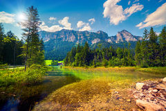 Sunny summer morning on the Hintersee lake Royalty Free Stock Photos