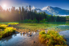 Sunny summer morning on the Hintersee lake in Austrian Alps Royalty Free Stock Photo