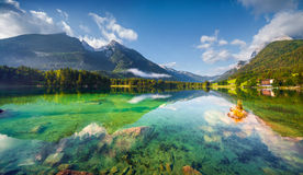 Sunny summer morning on the Hintersee lake Royalty Free Stock Photography