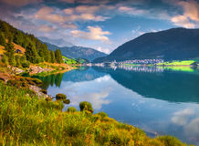 Sunny summer morning on the Hintersee lake Stock Photography