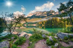 Sunny summer morning on Hintersee lake. stock photo