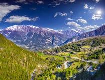 Sunny summer morning in Italian Alps. Royalty Free Stock Photo