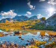 Sunny summer morning on the Lago Rienza Royalty Free Stock Photos