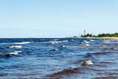 Sunny summer scene of Baltic sea with beautiful seaside with wav. Es Stock Images