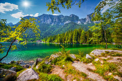 Sunny summer scene on the Hintersee lake Stock Photos