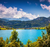 Sunny summer scene on Lungerersee lake Royalty Free Stock Photos