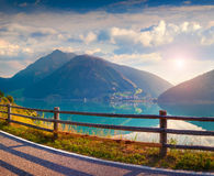 Sunny summer scene on the Resia (Reschensee) lake Stock Photography