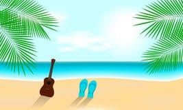 Sunny Summer Vacation Beach con le ukulele fotografia stock
