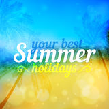 Sunny summer vector backdrop with palms Stock Image