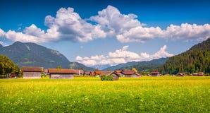 Sunny summer view of Garmisch-Partenkirchen town. Stock Photography