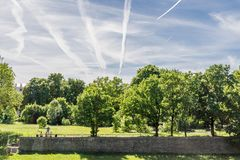 People picnicking in a park amongst trees, plane trails in the sky stock image