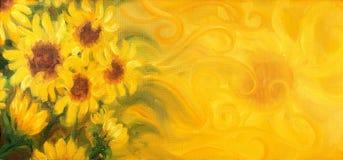 Sunny Sunflowers avec le soleil et des ornements Peinture à l'huile sur la toile Photographie stock libre de droits