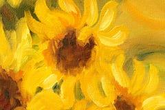 Sunny Sunflowers Oil-het schilderen op canvas Royalty-vrije Stock Foto's