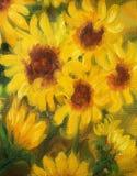 Sunny Sunflowers Oil-het schilderen op canvas Stock Foto's