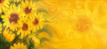 Sunny Sunflowers with sun and ornaments. Oil painting on canvas. Royalty Free Stock Photography