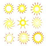Sunny Suns. A set of 9 suns Stock Photos