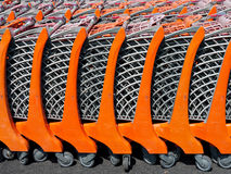 Sunny supermarket shopping trolleys Royalty Free Stock Image