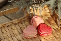 Sunny sweet valentine`s day macarons stock photos