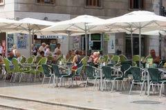 People sunny terrace, Valencia, Spain Royalty Free Stock Photography