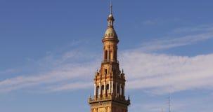 Sunny top of plaza de espana 4k seville spain stock footage
