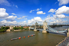 Sunny Tower Bridge. Tower Bridge at Thames River shot from rooftop Royalty Free Stock Images