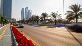Sunny traffic road 4k time lapse from abu dhabi stock video