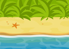 Sunny tropical beach, bright tropic jungle landscape, sea flat vector illustration, sand and water relax graphics, ocean backgroun Royalty Free Stock Image
