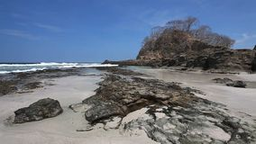 A sunny tropical beach in Costa Rica. View of a sunny tropical beach in Costa Rica stock video