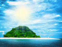 Sunny tropical beach on the island Stock Photos