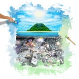 Sunny tropical beach on the island. Hand painting beautiful sunny tropical beach on the island paradise in the middle of the sea Stock Photo