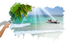 Sunny tropical beach on the island Royalty Free Stock Photos