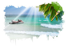 Sunny tropical beach on the island Royalty Free Stock Image